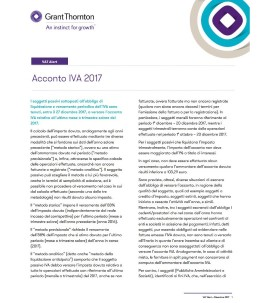 VAT Alert: Acconto IVA 2017