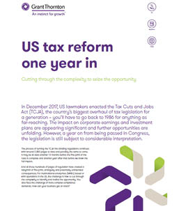US tax reform one year in