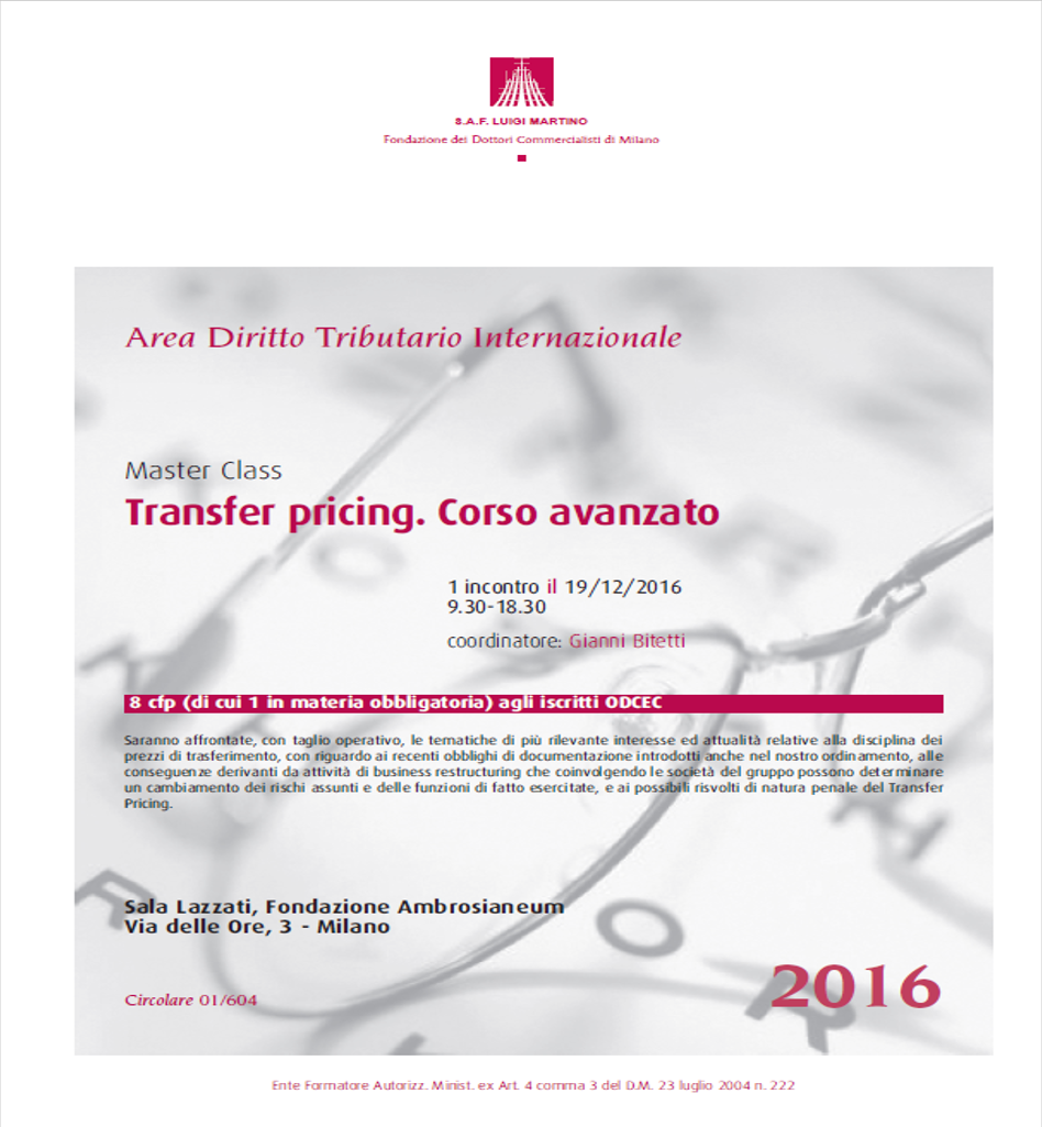 Transfer pricing corso avanzato - flyer