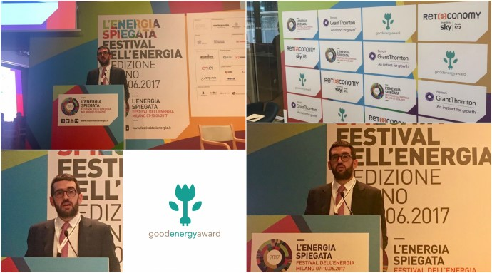 Stefano Salvadeo presenta il Good Energy Award al Festival dell'Energia